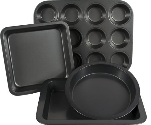 4 Piece Non Stick Large Cake Round Square Tin Baking Biscuit Muffin Tray Pan Set