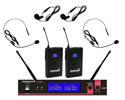 Karaoke Club System (STARAUDIO SMU-0202B Dual UHF Channel Wireless DJ Stage Club Party Karaoke Microphone System with 2 Headsets 2 Lapel Lavalier Microphones)