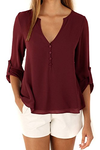 happy-sailed-women-2016-new-casual-chiffon-button-v-neck-blouses-shirts-large-red