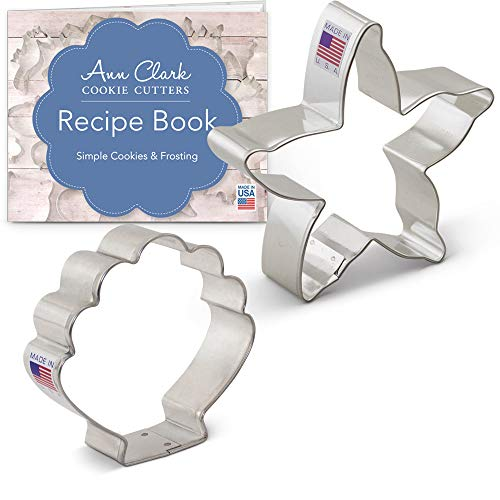 - Beach Cookie Cutter Set with Recipe Booklet - 2 Pieces - Starfish and Seashell - Ann Clark - US Tin Plated Steel