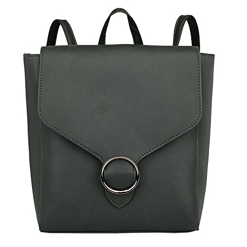 Theshy Vintage Women Student Pure Color Leather Shoulder Bag School Bag Tote Backpack Handbag Purse Wallet