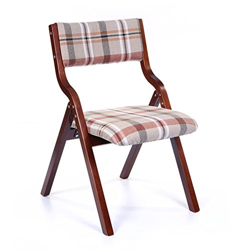 WEI MING-Chair Fashion Folding Armchair Study Desk Computer Solid Wood Backrest Leisure Chair Dining Chair (Red lattice linen) ()