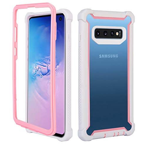 Full Body Protection - ANERNAI Compatible with Samsung Galaxy S10+ Plus Case Clear Heavy Duty Armor Dual Layer Full Body Protection Support Wireless Charging Cover Case (White-Pink)