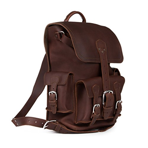Saddleback Leather Thin Front Pocket Backpack – Best, 100% Full Grain Leather Backpack for School, Business or Travel - 100 Year Warranty by Saddleback Leather Co.