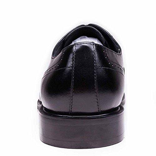 Fulinken Mens Del Cuoio Genuino Delle Scarpe Oxford Lace Up Ala Punta Business Vestito Scarpe Formali Nere