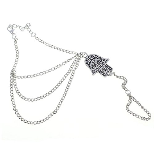 Susenstone Silver Hamsa Fatima Bracelet, Finger Ring Bangle Slave Chain