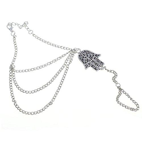 Susenstone Silver Hamsa Fatima Bracelet, Finger Ring Bangle Slave Chain
