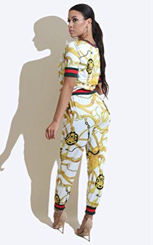 TenYid Casual Conjuntos Chándal para Mujer Manga Corta Top + Mallas Pantalones de Deporte Fiesta Clubwear Blanco