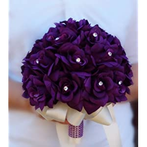 2 Wedding Bouquets -Bridal Flower Girl / Toss - Purple, Lavender Wedding Flower 112