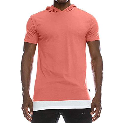 Realdo mens Hoodie Short Sleeve T-Shirt,Men's Patchwork Hemline Split Hooded T-Shirt Muscle Blouse Pink