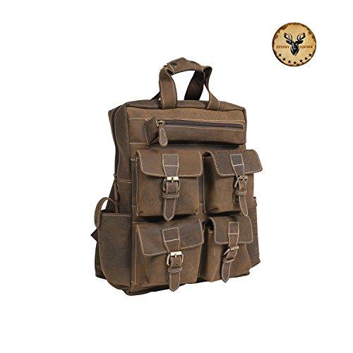 Sperry Leather Vintage Crazy Horse Genuine Leather Backpack Multi Pockets Travel Sports Bag Handcrafted Real Leather Vintage Laptop Backpack Shoulder Bag Travel Bag (Olive Vintage) (Sperry For Work)