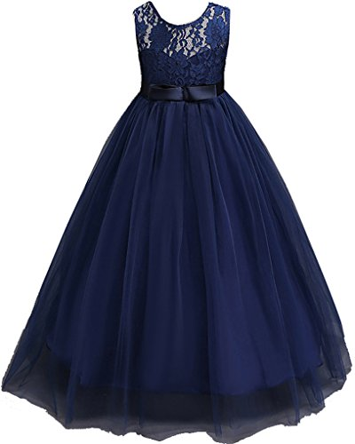 Shiny Toddler Big Girls Embroidered Applique Wedding Birthday Pageant Dress Navy Blue -