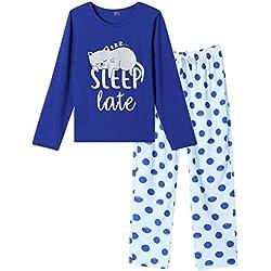 VENTELAN - Pijama de Manga Larga para Mujer, diseño de búho, Gato Azul, L(US Tamaño:12-14)
