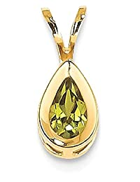 IceCarats 14k Yellow Gold 6x4mm Pear Peridot Green Bezel Necklace Pendant Charm