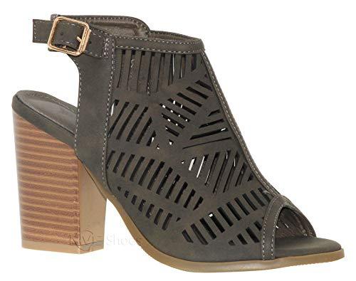 - MVE Shoes Women's Cut Out Open Toe Block Heel - Summer Heeled Sandals, Connie-8 ol Green 8.5