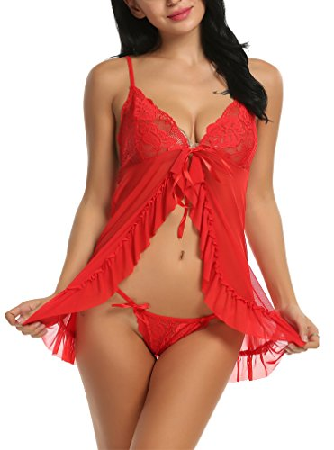 Sherosa Women's Halter Lingerie Playful Retro Stretch Mesh Babydoll and Panty Set (S, Red)