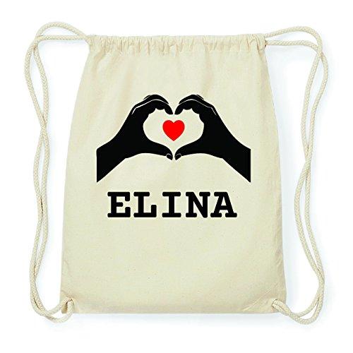 JOllify ELINA Hipster Turnbeutel Tasche Rucksack aus Baumwolle - Farbe: natur Design: Hände Herz
