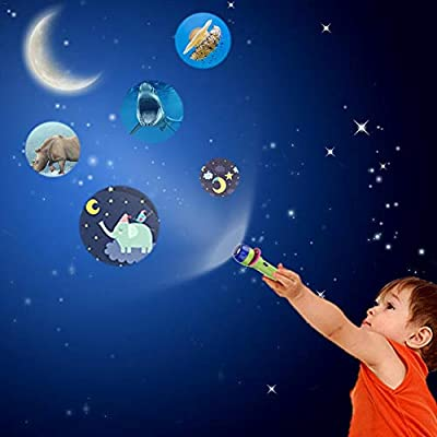 HD Cartoon Small Flashlight Projector, Mini Story Machine for Boys and Girls Picture Light Children Early Education Learning Fun Toys, Small flashlights for Kids, Moonlight Story Projector : Baby
