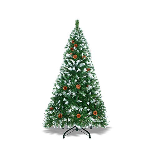 Strong Camel 5' Artificial Christmas Tree 23 Pine Cones Snow Flocked Tips Evergreen Christmas Tree,446 Tipss w/Steel Stand Unlit
