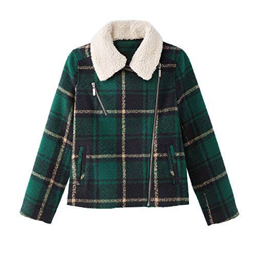 La Redoute Collections Womens Faux Sheepskin Checked Aviator Jacket Green Size US 16 - FR 46 from La Redoute