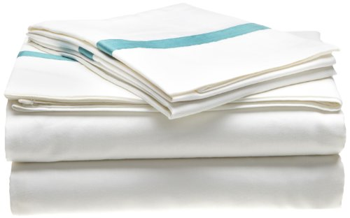 Superior 300 Thread Count 100% Cotton, Hotel Collection, Deep Pocket, Single Ply, King Bed Sheet Set, White with Turquoise