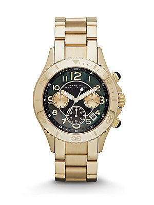 Marc by Marc Jacobs Chronograph Black Dial Gold Tone Womens Watch MBM3253