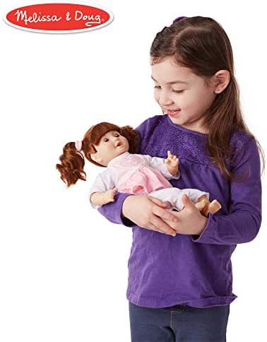Melissa & Doug Mine to Love Brianna, 12-Inch Soft-Body Baby Doll, Two-Piece Outfit, Wipe-Clean Arms & Legs, 12.5″ H × 7.5″ W × 4.75″ L