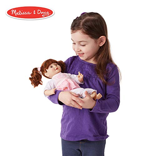 Melissa & Doug Mine to Love Brianna, 12-Inch Soft-Body Baby Doll, Two-Piece Outfit, Wipe-Clean Arms & Legs, 12.5″ H × 7.5″ W × 4.75″ - Doll Usa Made Baby