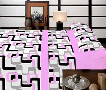 Casa Ydeal Store Juego de Sábanas Rayas Retro 50% algodón 50% poliéster (90cm, Malva): Amazon.es: Hogar