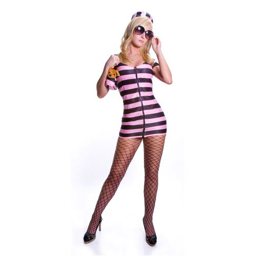 Adult Sexy Pink Striped Prisoner Costume Set By Dress Up America