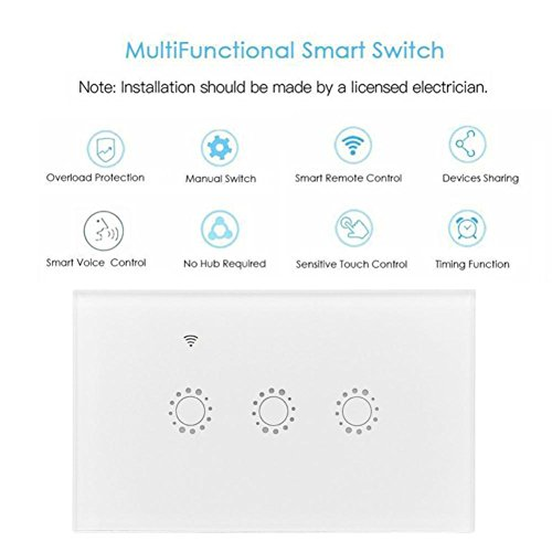 Switch Capacitive Hand Switch Wireless Remote Control Glass 3-gang Smart Home AU/US Crystal Waterproof Glass Touch Screen Light Switch&Mini Remote Wifi phone control (White) by Liu Nian (Image #5)
