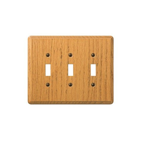 AmerTac 901TTTL 3 Toggle Traditional Oak Wood Wallplate