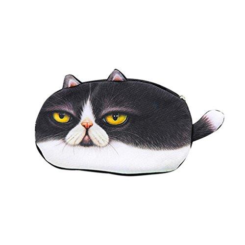 Pencil Case Storage Bag Coin Purse Cosmetic Pouch Kids Best Gift School Cat Face Pen Bag by CYCTECH (E)