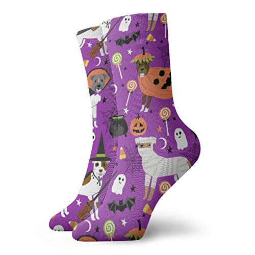 Pitbull Halloween Costume Dog - Cute Dogs In Costume Halloween Design Candy Corn, Candy, Funny Pet- Purple Unisex Athletic Stockings 11.8 inch Long -