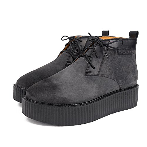 Roseg Hombres Oxfords Suede Lace Up Plataforma Derby Creepers Martin Botas Gris