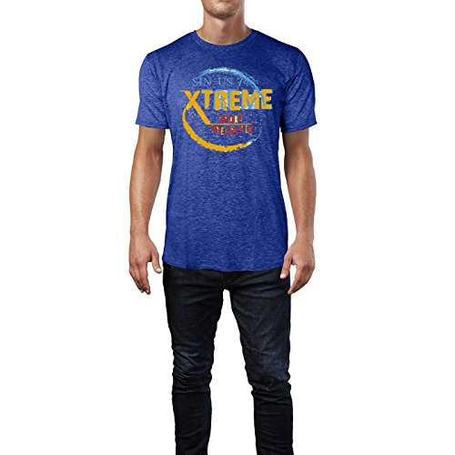 Sinus Art ® Herren T Shirt Xtreme Sport Freestyle ( Heather_Blue ) Crewneck Tee with Frontartwork
