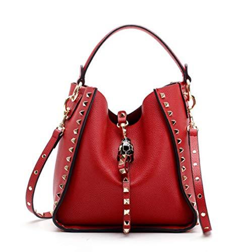 ACTLURE Women Cowhide Leather Rock Stud Double Handle Hobo Crossbody Shoulder Handbag Bucket Purse (RED)
