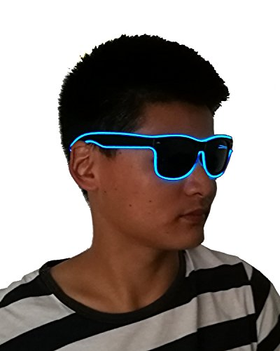 Light up EL wire LED Sunglasses with dark lens 10 Color choice for Party Festival - Sunglasses Lighted Led