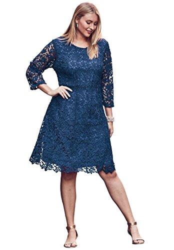 Jessica London Women's Plus Size Lace Fit & Flare Dress Dark Cobalt,14 W by Jessica London