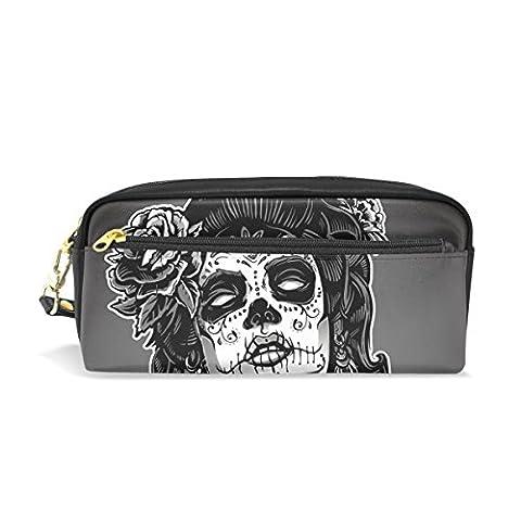 Sugar Skull Dia De Los Muertos PU Leather Pencil Case Portable Pen Organizer Pouch Stationary Case Makeup Cosmetic - Crown Slider Charm