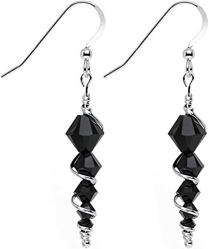 Body Candy Handcrafted 925 Silver Black Icicle Drop Earrings Created with Swarovski Crystals