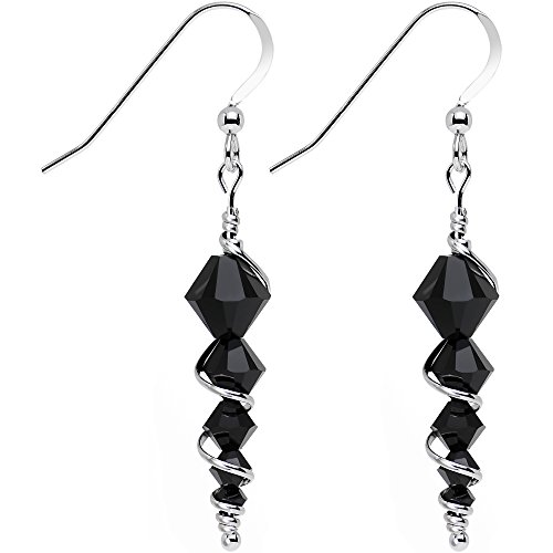 Body Candy Handcrafted 925 Silver Black Icicle Drop Earrings