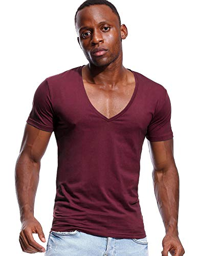 Deep V Neck T Shirt for Men Low Cut Vneck Invisible Tee Vee Top Burgundy Red XL