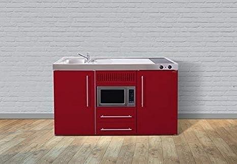 Miniküche Mit Kühlschrank Spüle Rechts : Stengel premium miniküche metallküche single küche 150cm rot becken