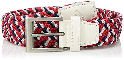 (adidas Golf Men's Braided Weave Stretch USA Belt, Small/Medium, White)