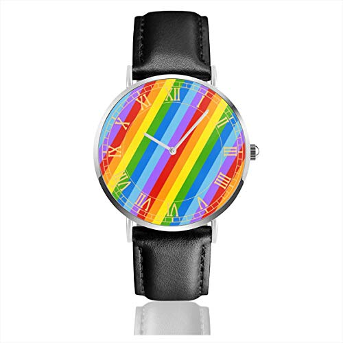 (Rainbow Diagonal Stripes Women Simple Ultra-Thin Watches Business Analog Stainless Steel Quartz Watches with Leather Strap)