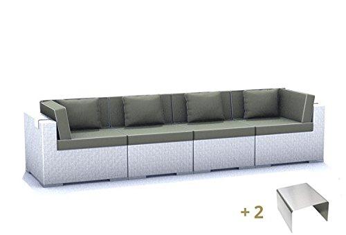 Gartenmöbel Rattan Espace Set E3 - 6 Sitze Polyrattan, cremeweiß inkl. Kissen