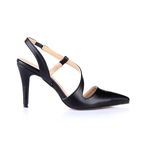 Slingback Shoes Dress Slim Heeled Sandals Toe Black Pointy Pumps Prime Women Leather EZwq8x