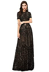 Black_2 V-Neck Sequins With Sleeves Lace-up Mermaid Dress
