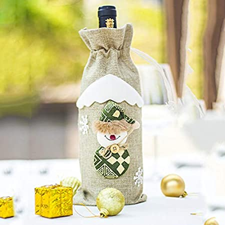 Gysad Linen Christmas Wine Bottle Cover Bags Gift Bags Xmas Party Table Decorations Green